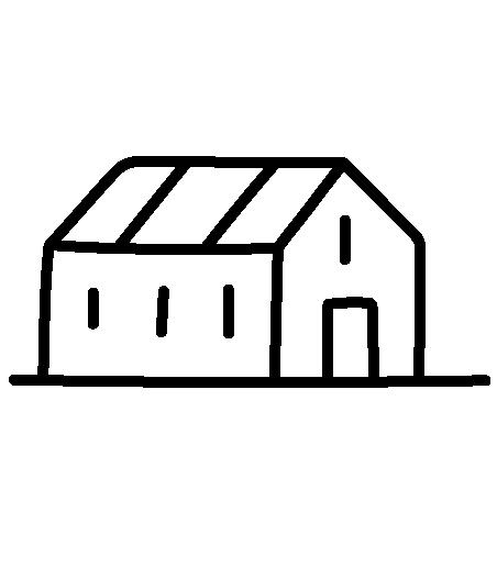 Icon eines Hofes in Schwarz von der Seite